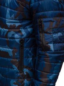 Tmavě modrá pánská maskáčová sportovní přechodová bunda Bolf MY13M