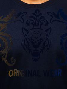 Tmavě modrá pánská mikina bez kapuce s potiskem Bolf HY697