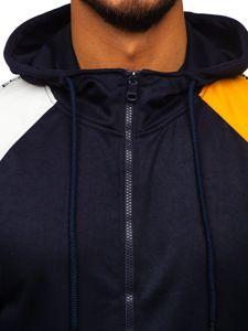 Tmavě modrá pánská mikina na zip s kapucí Bolf 8998