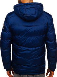 Tmavě modrá pánská prošívaná sportovní zimní bunda Bolf 50A156