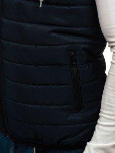 Tmavě modrá pánská vesta s kapucí Bolf AK90