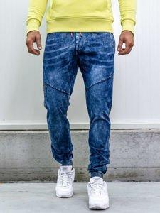 Tmavě modré pánské džínové jogger kalhoty Bolf KK1036