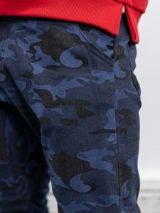 Tmavě modré pánské maskáčové jogger kalhoty Bolf 0367