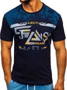 Tmavě modré pánské tričko s potiskem Bolf 14227-1