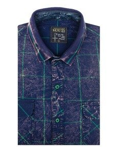 Tmavě modro-zelená pánská kostkovaná košile s dlouhým rukávem Bolf 2506