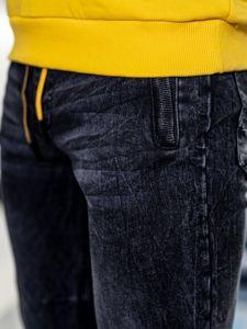 Tmavě modro-žluté pánské džínové jogger kalhoty Bolf HY556