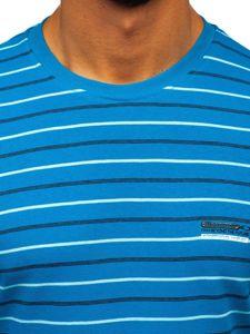 Tyrkysové pánské proužkované tričko s dlouhým rukávem Bolf 1519