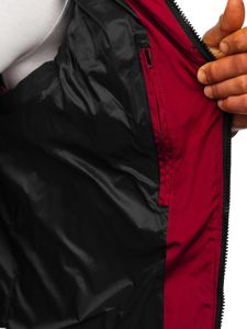 Vínová pánská prošíváná vesta s kapucí Bolf 1189