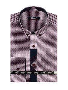 Vínová pánská vzorovaná košile s dlouhým rukávem Bolf 8810