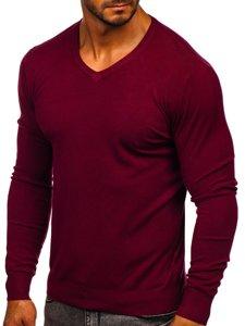 Vínový pánský svetr s výstřihem do V Bolf YY03