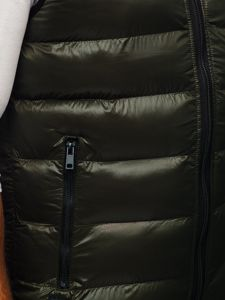 Zelená pánská prošívaná vesta s kapucí Bolf 6506