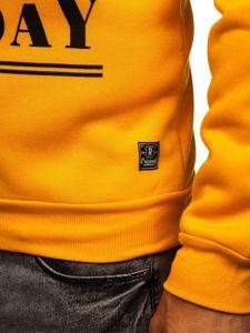 Žlutá pánská mikina bez kapuce s potiskem Bolf HY599