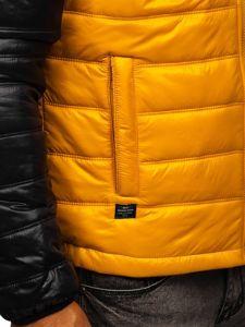 Žlutá pánská prošívaná přechodová bunda Bolf 6111