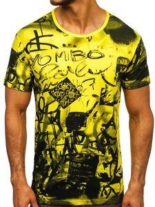 Žluté pánské tričko s potiskem Bolf KS1987