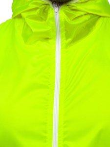 Žluto-neonová pánská přechodová bunda s kapucí větrovka Bolf 5060