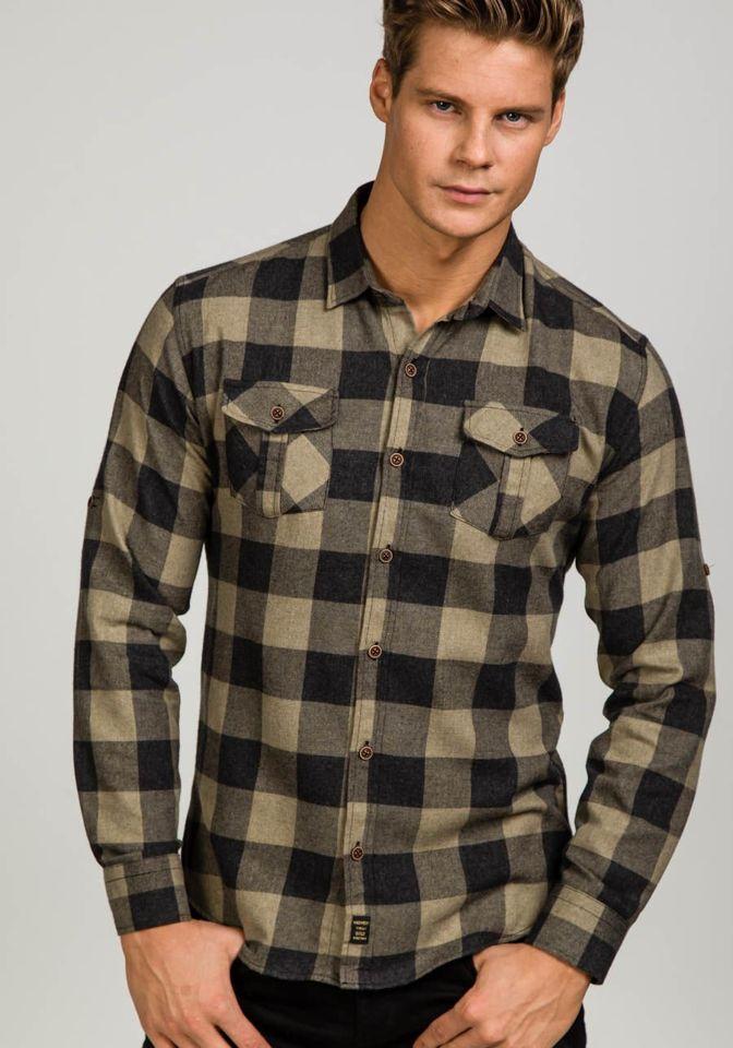 e14d28e7200 Béžová pánská flanelová košile s dlouhým rukávem Bolf 1770