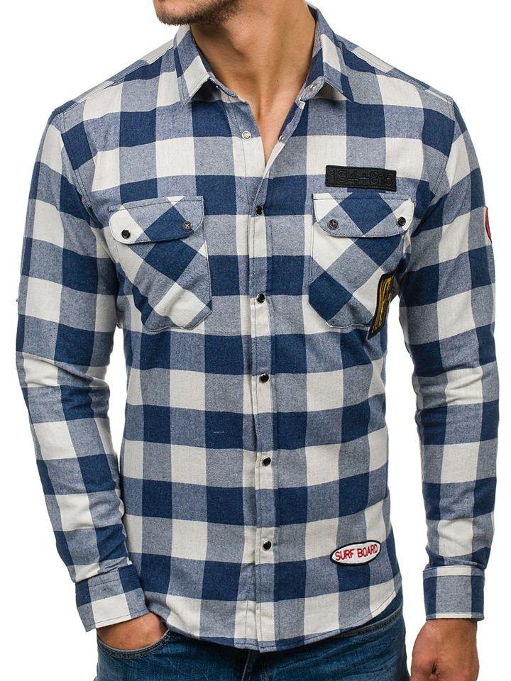 cf76787adf0 Tmavě modrá pánská flanelová košile s dlouhým rukávem Bolf 2503
