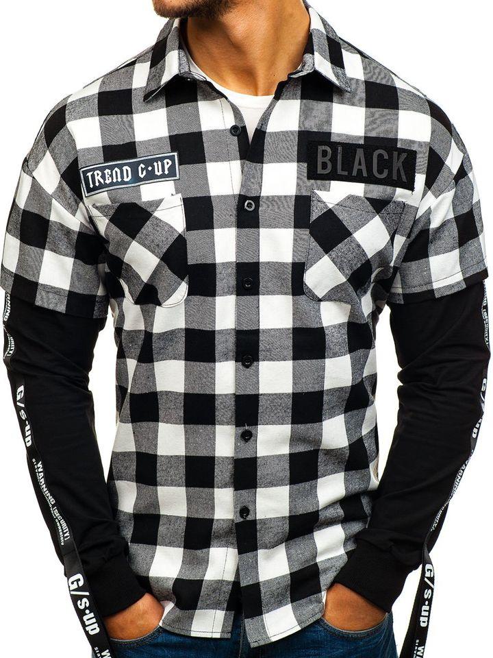 961fc7ee0f6 Černá pánská flanelová košile s dlouhým rukávem Bolf 7460