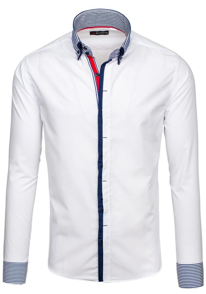 Pánská bílá košile s dlouhým rukávem Bolf 5727 0f538e3753
