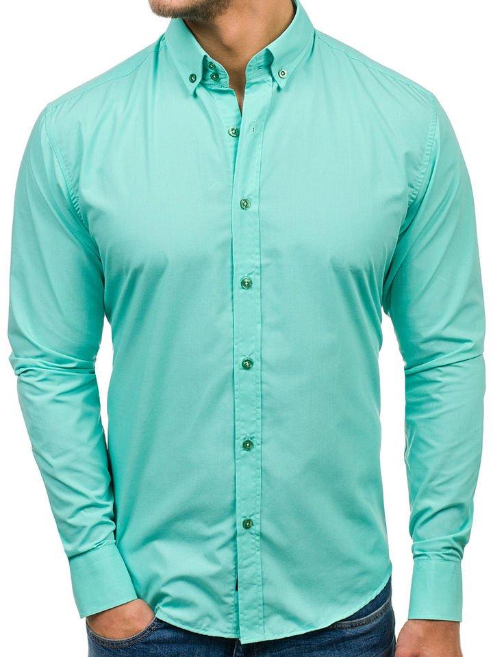0c6c5f4a32b Pánská světle zelená elegantní košile s dlouhým rukávem Bolf 5821-1