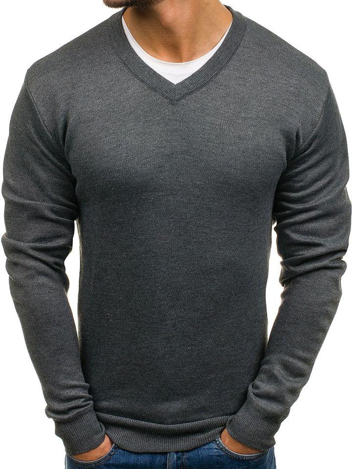 9aa8635dde3 Grafitový pánský svetr s výstřihem do V Bolf s001