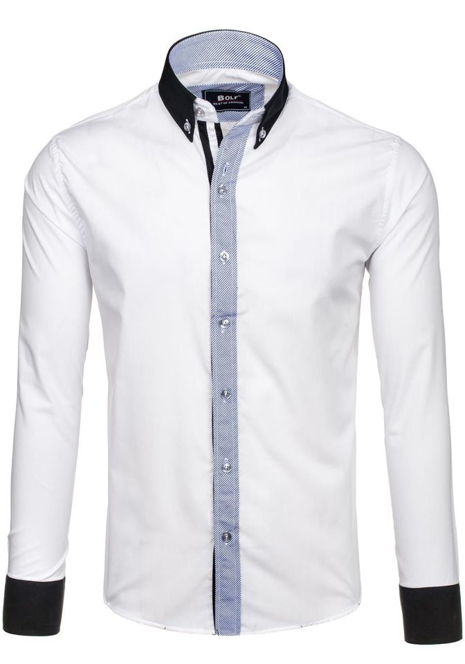 Bílá pánská elegantní košile s dlouhým rukávem Bolf 6946 173e04bfe8