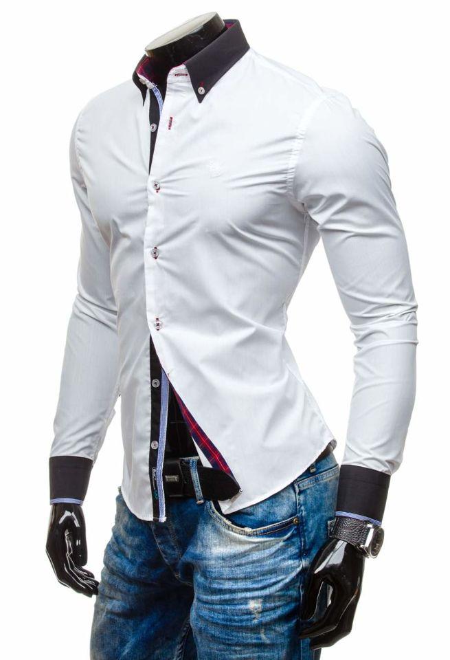 Bílá pánská elegantní košile s dlouhým rukávem Bolf 5766 7572dd38fe