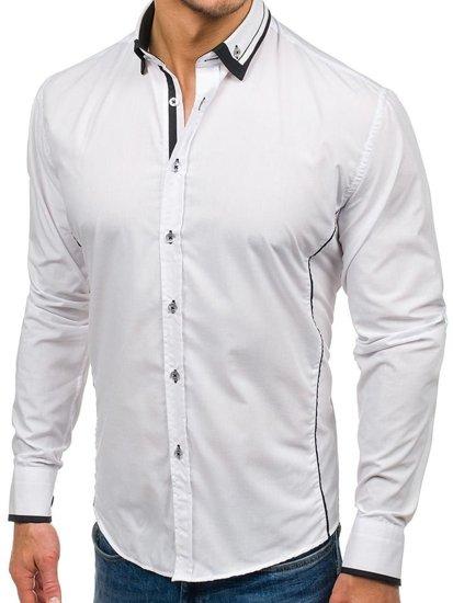 Bílo-černá pánská elegantní košile s dlouhým rukávem Bolf 4720