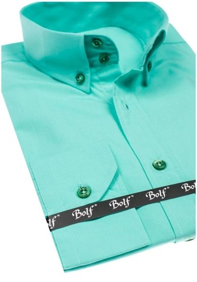 Pánská světle zelená elegantní košile s dlouhým rukávem Bolf 5821-1