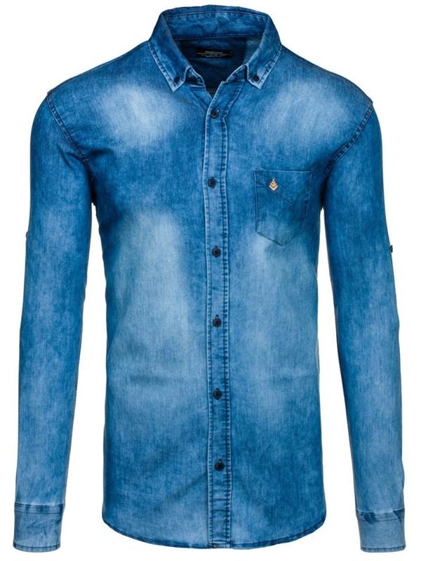 Blue Men's Denim Long Sleeve Shirt Bolf 0493-1